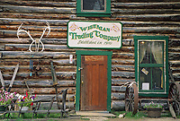Historic Wiseman log trading post, small mining town of Wiseman, Brooks Range, Alaska