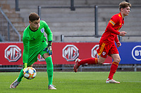 3rd September 2021; Newport, Wales: Goalie  Charlie Setford of England rolls the ball out to his defense during the U18 International Friendly match between Wales and England at Newport Stadium in Newport, Wales.