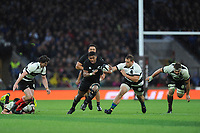 Waisake Naholo of New Zealand finds space during the 125th Anniversary Match between Barbarians and New Zealand at Twickenham Stadium on Saturday 4th November 2017 (Photo by Rob Munro/Stewart Communications)