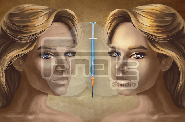 Female faces with Botox injection depicting effects after cosmetic surgery