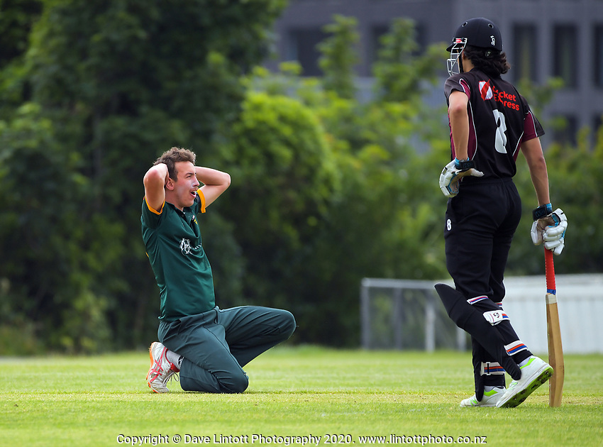 Action from the Hazlett Trophy Wellington premier men's division two cricket one-day match between Victoria University and North City at Kelburn Park in Wellington, New Zealand on Saturday, 21 November 2020. Photo: Dave Lintott / lintottphoto.co.nz