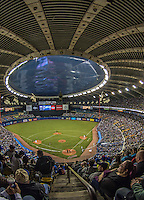 4 April 2015: A crowd of 50,231 fills the Olympic Stadium for a pre-season exhibition game between the Toronto Blue Jays and the Cincinnati Reds in Montreal, Quebec. The Blue Jays defeated the Reds 9-1 in the second of two MLB pre-season weekend exhibition games. Mandatory Credit: Ed Wolfstein Photo *** RAW (NEF) Image File Available ***
