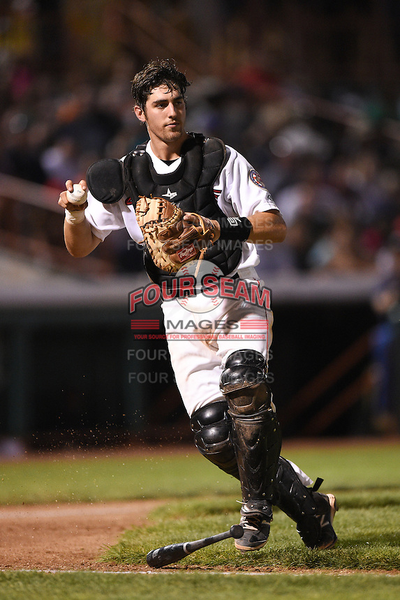 Tri-City ValleyCats catcher Jamie Ritchie (36) fields a ball that was called foul during a game against the Batavia Muckdogs on August 2, 2014 at Joseph L. Bruno Stadium in Troy, New  York.  Tri-City defeated Batavia 8-4.  (Mike Janes/Four Seam Images)
