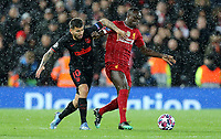 Liverpool's Sadio Mane holds off the challenge from Atletico Madrid's Angel Correa<br /> <br /> Photographer Rich Linley/CameraSport<br /> <br /> UEFA Champions League Round of 16 Second Leg - Liverpool v Atletico Madrid - Wednesday 11th March 2020 - Anfield - Liverpool<br />  <br /> World Copyright © 2020 CameraSport. All rights reserved. 43 Linden Ave. Countesthorpe. Leicester. England. LE8 5PG - Tel: +44 (0) 116 277 4147 - admin@camerasport.com - www.camerasport.com