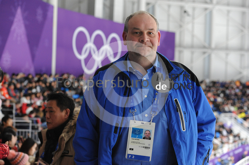 OLYMPIC GAMES: PYEONGCHANG: 18-02-2018, Gangneung Oval, Long Track, Gialt Biesma (Jury Short Track), ©photo Martin de Jong