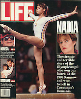 LIFE cover (center photo of Nadia on balance beam). Photo by John G. Zimmerman.
