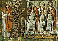 Ravenna: Jesus before Caiphas and the Sanhedrin, 6th Century. Basiica of Nuovo Sant'Apollinare.