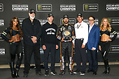 Monster Energy NASCAR Cup Series<br /> Federated Auto Parts 400<br /> Richmond Raceway, Richmond, VA USA<br /> Saturday 9 September 2017<br /> Martin Truex Jr and the Regular Season Championship trophy with Furniture Row Racing executives and NASCAR President Brent Dewar<br /> World Copyright: Lesley Ann Miller<br /> LAT Images