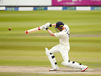 28th May 2021; Emirates Old Trafford, Manchester, Lancashire, England; County Championship Cricket, Lancashire versus Yorkshire, Day 2; Luke Wells of Lancashire hits out