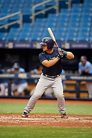 Erik Ostberg (16) at bat during the Tampa Bay Rays Instructional League Intrasquad World Series game on October 3, 2018 at the Tropicana Field in St. Petersburg, Florida.  (Mike Janes/Four Seam Images)