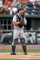 Dayton Dragons catcher Mark Fleury during a game vs. the Great Lakes Loons at Dow Diamond in Midland, Michigan August 19, 2010.   Great Lakes defeated Dayton 1-0.  Photo By Mike Janes/Four Seam Images