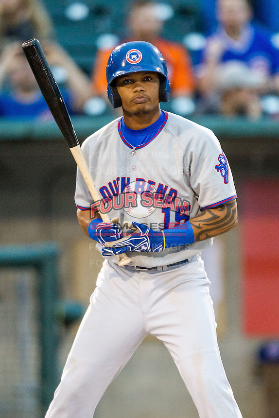 South Bend Cubs outfielder Eddy Martinez (15) in action against the Lansing Lugnuts on May 12, 2016 at Cooley Law School Stadium in Lansing, Michigan. Lansing defeated South Bend 5-0. (Andrew Woolley/Four Seam Images)