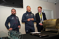 Pictured: Leon Britton and Lee Trundle of Swansea City during the Swans Community Trust awards dinner at the liberty stadium in Swansea, Wales, UK <br /> Thursday 02 April 2019