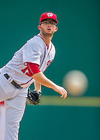 13 March 2016: Washington Nationals pitcher Erik Davis on the mound during a pre-season Spring Training game against the St. Louis Cardinals at Space Coast Stadium in Viera, Florida. The teams played to a 4-4 draw in Grapefruit League play. Mandatory Credit: Ed Wolfstein Photo *** RAW (NEF) Image File Available ***