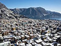 Switzerland. Canton Ticino. Lugano. Downtown. Lake Ceresio. Snow in the winter. 22.03.2015 © 2015 Didier Ruef
