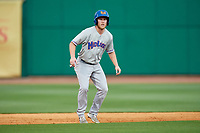 Midland RockHounds center fielder Brett Vertigan (17) leads off second base during a game against the Northwest Arkansas Naturals on May 27, 2017 at Arvest Ballpark in Springdale, Arkansas.  NW Arkansas defeated Midland 3-2.  (Mike Janes/Four Seam Images)