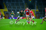 David Clifford, Kerry in action against Mark Collins, Cork, and Sean Powter, Cork, during the Munster GAA Football Senior Championship Semi-Final match between Cork and Kerry at Páirc Uí Chaoimh in Cork.