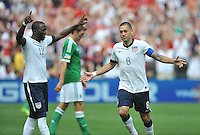 Clint Dempsey (8) of the USMNT celebrates his second goal of the game. The USMNT defeated Germany 4-3, during and international friendly commemorating the centennial celebration for U.S. Soccer, at RFK Stadium, Sunday July 2 , 2013.