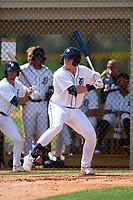 FCL Tigers West Izaac Pacheco (35) bats during a game against the FCL Yankees on July 31, 2021 at Tigertown in Lakeland, Florida.  (Mike Janes/Four Seam Images)