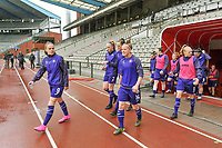 players Anderlecht entering the field before a female soccer game before RSC Anderlecht Dames and Oud Heverlee Leuven on the seventh matchday of play off 1 of the 2020 - 2021 season of Belgian Womens Super League , saturday 15 th of May 2021  in Brussels , Belgium . PHOTO SPORTPIX.BE   SPP   STIJN AUDOOREN