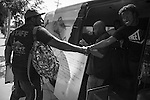 The Street Poets, Inc van rolled out to a cafe in Los Angeles where they provided the chance for the public to recite their own poetry after reading a prompt. The art non-profit attempts to seek peace and bridge relations between people and communities through their poetry outreach.