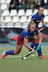 GER - Mannheim, Germany, October 09: During the women hockey match between Mannheimer HC (blue) and Ruesselsheimer RK (red) on October 9, 2016 at Mannheimer HC in Mannheim, Germany. Final score 6-0 (HT 1-0). (Photo by Dirk Markgraf / www.265-images.com) *** Local caption *** Nike Lorenz #16 of Mannheimer HC