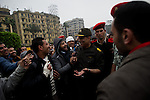 """© Remi OCHLIK/IP3 -  February 5 2011  CAIRO General Hassan El Noori head of the Egyptian army visits people in Tahrir square and deliver a speech to encourage people go home..The top leadership body of Egypt's ruling party resigned Saturday, including the president's son, but the regime appeared to be digging in its heels, calculating that it can ride out street demonstrations and keep President Hosni Mubarak in office. Protesters have refused to end their mass rallies in downtown Tahrir Square until Mubarak quits. Tens of thousands gathered Saturday in Tahrir, waving flags and chanting a day after some 100,000 massed there in an intensified demonstration labeled """"the day of departure,"""" in hopes it would be the day Mubarak leaves...Their unprecedented 12-day movement has entered a delicate new phase. Organizers fear that without the pressure of protesters on the street, Mubarak's regime will enact only cosmetic reforms and try to preserve its grip on power. So they are reluctant to lift their demonstrations without the concrete gain of Mubarak's ouster and a transition mechanism that guarantees a real move to democracy afterward"""