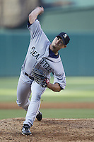 Joel Pineiro of the Seattle Mariners pitches during a 2002 MLB season game against the Los Angeles Angels at Angel Stadium, in Los Angeles, California. (Larry Goren/Four Seam Images)