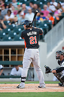 Sean Halton (21) of the Norfolk Tides at bat against the Charlotte Knights at BB&T BallPark on July 17, 2015 in Charlotte, North Carolina.  The Knights defeated the Tides 5-4.  (Brian Westerholt/Four Seam Images)