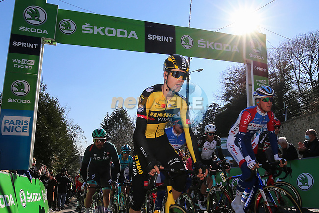 The peloton including Lennard Hofstede (NED) Jumbo-Visma during Stage 1 of Paris-Nice 2021, running 166km from Saint-Cyr-l'École to Saint-Cyr-l'École, France. 7th March 2021.<br /> Picture: ASO/Fabien Boukla | Cyclefile<br /> All photos usage must carry mandatory copyright credit (© Cyclefile | ASO/Fabien Boukla)