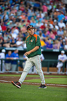 Head coach Jim Morris (3) of the Miami Hurricanes looks on during a game between the Miami Hurricanes and Florida Gators at TD Ameritrade Park on June 13, 2015 in Omaha, Nebraska. (Brace Hemmelgarn/Four Seam Images)