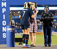 FRISCO, TX - MARCH 11: Abby Dahlkemper #7 of the United States receives her medal during a game between Japan and USWNT at Toyota Stadium on March 11, 2020 in Frisco, Texas.
