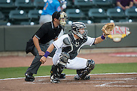 Winston-Salem Dash catcher Brett Austin (7) sets a target as home plate umpire Tyler Olson looks on during the game against the Myrtle Beach Pelicans at BB&T Ballpark on April 18, 2016 in Winston-Salem, North Carolina.  The Pelicans defeated the Dash 6-4.  (Brian Westerholt/Four Seam Images)