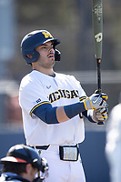 Michigan Wolverines first baseman Jimmy Obertop (8) at the plate during the NCAA baseball game against the Illinois Fighting Illini on March 20, 2021 at Fisher Stadium in Ann Arbor, Michigan. Michigan won the game 8-1. (Andrew Woolley/Four Seam Images)