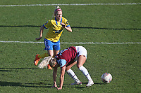 Adriana Leon of West Ham tangles with Denise O'Sullivan of Brighton during West Ham United Women vs Brighton & Hove Albion Women, Barclays FA Women's Super League Football at the Chigwell Construction Stadium on 15th November 2020
