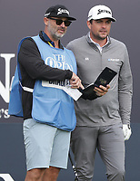 13th July 2021; The Royal St. George's Golf Club, Sandwich, Kent, England; The 149th Open Golf Championship, practice day; Keegan Bradley (USA) consist his caddie on the first tee