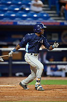 Charlotte Stone Crabs shortstop Lucius Fox (2) hits a single during the first game of a doubleheader against the St. Lucie Mets on April 24, 2018 at First Data Field in Port St. Lucie, Florida.  St. Lucie defeated Charlotte 5-3.  (Mike Janes/Four Seam Images)