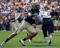 Pitt defensive end Jabaal Sheard #97 makes a tackle. The Pittsburgh Panthers defeat the New Hampshire Wildcats 38-16 at Heinz Field, Pittsburgh Pennsylvania on September 11, 2010.