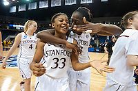 NORFOLK, VA--Freshman Amber Orange is congratulated be Sophmore Chiney Ogwumike after defeating West Virginia University at the Ted Constant Convocation Center at Old Dominion University for the second round of the 2012 NCAA Championships. The Cardinal advanced to the West Regionals in Fresno with a score of 72-55.