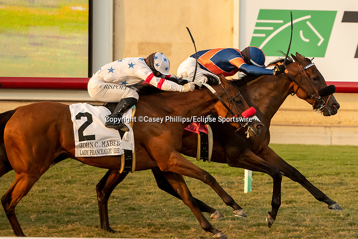 DEL MAR, CA  SEP 5: #8 Raymundos Secret, ridden by Flavien Prat, holds off a fast closing #2 Lady Prancealot, ridden by Umberto Rispoli, to win the John C. Mabee Staakes (Grade ll) at Del Mar Thoroughbred Club on September 5, 2020 in Del Mar, CA.(Photo by Casey Phillips/Eclipse Sportswire/CSM.