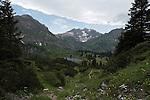 Austria, Vorarlberg, near Schroecken: Lake Koerber south-east of Hochtannberg passroad with Braunarlspitze mountain