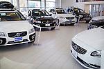 Volvo cars inside a dealership. Toronto, Canada.