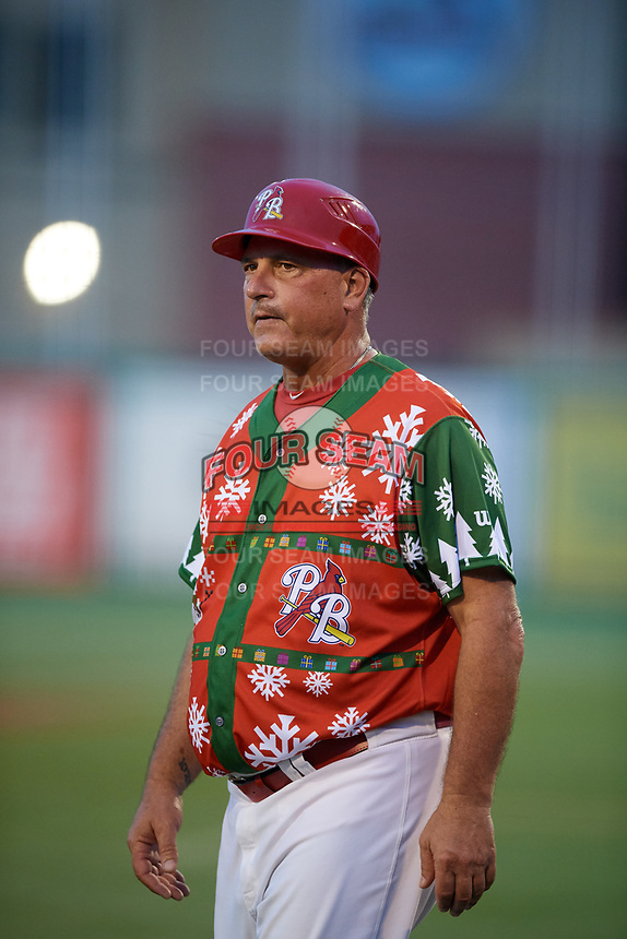 """Palm Beach Cardinals manager Dann Bilardello (11) during a game against the Charlotte Stone Crabs on July 22, 2017 at Roger Dean Stadium in Palm Beach, Florida.  The Cardinals wore special """"Ugly Sweater"""" jerseys for Christmas in July.  Charlotte defeated Palm Beach 5-2.  (Mike Janes/Four Seam Images)"""