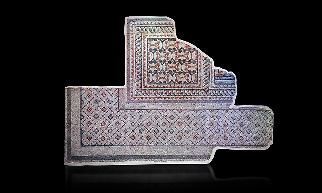 Roman geometric mosaics from Zeugma. 2nd-3rd century AD. Zeugma Mosaic Museum, Gaziantep, Turkey.   Against a black background.