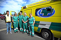 Wellington Free Ambulance staff before stage five of the NZ Cycle Classic UCI Oceania Tour in Wairarapa, New Zealand on Tuesday, 26 January 2017. Photo: Dave Lintott / lintottphoto.co.nz