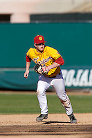 Adam Landecker #2 of the USC Trojans during a game against the Cal State Northridge Matadors at Dedeaux Field on February 24, 2013 in Los Angeles, California. (Larry Goren/Four Seam Images)