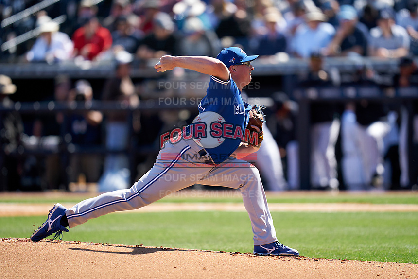 Toronto Blue Jays pitcher Trent Thornton (57) during a Spring Training game against the New York Yankees on February 22, 2020 at the George M. Steinbrenner Field in Tampa, Florida.  (Mike Janes/Four Seam Images)