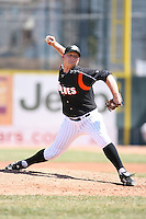 April 15th 2008:  Pitcher Josh Rainwater (27) of the Erie Seawolves, Class-AA affiliate of the Detroit Tigers, during a game at Jerry Uht Park in Erie, PA.  Photo by:  Mike Janes/Four Seam Images