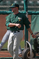 February 21, 2010:  Coach Jimmy Jackson (18) of the Siena Saints during a game at Melching Field at Conrad Park in DeLand, FL.  Siena lost to Stetson by the score of 8-7.  Photo By Mike Janes/Four Seam Images