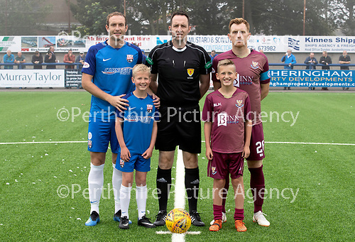 Montrose v St Johnstone…21.07.18…  Links Park    League Cup<br />Mascots with Referee Barry Cook and captains Paul Watson and Liam Craig<br />Picture by Graeme Hart. <br />Copyright Perthshire Picture Agency<br />Tel: 01738 623350  Mobile: 07990 594431